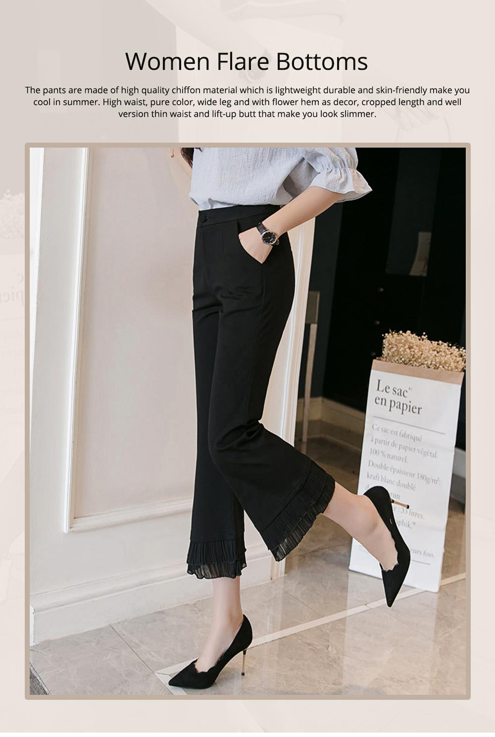 Women Flare Bottoms Mid Waisted Wide Leg Chiffon Palazzo Pants with Pocket Capris Leggings Bell-bottom Trousers 0