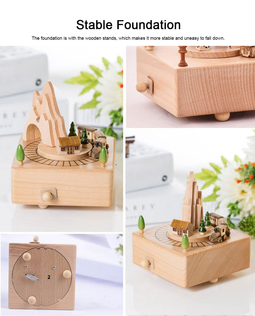 Creative Roller Coaster Wooden Music Box, Hand-made Wood Ware, Gifts Presents Ideal for Girlfriend Children Kids 4