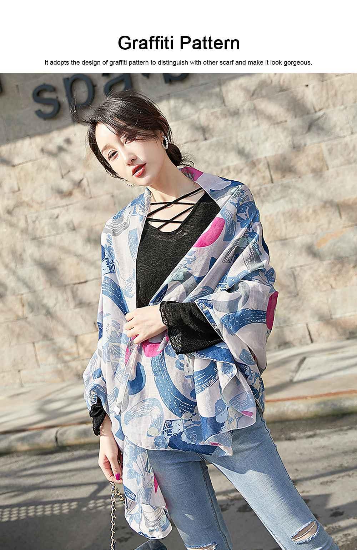 Korean Cotton Scarf for Women, Graffiti Pattern Larger Size Shawl, Multi-function Wide Range Printing Scarf 1