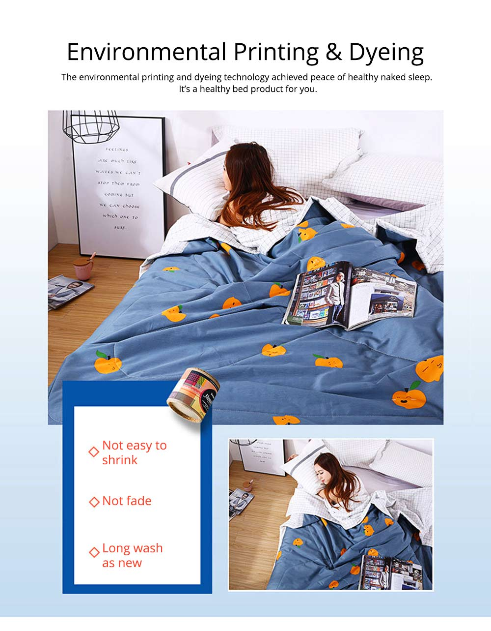 Washable Quilt for Summer Breathable Air Conditioning Quilt, Cotton Printed Quilt for Two Person 3