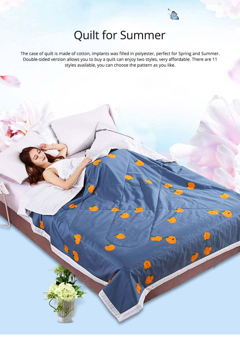 Washable Quilt for Summer Breathable Air Conditioning Quilt, Cotton Printed Quilt for Two Person 0