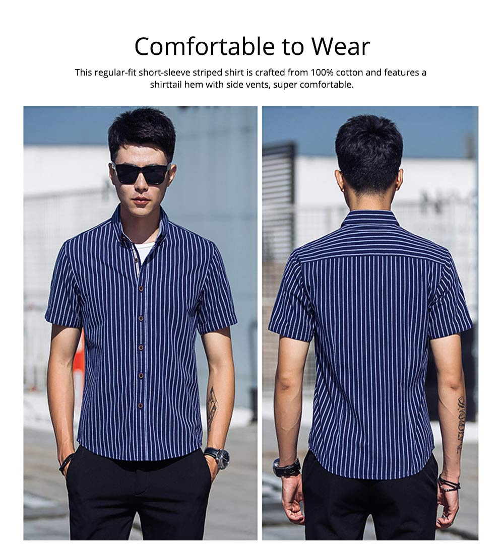 Short-Sleeve Stripe Shirt Men Casual Button Down Cotton Loose Shirts Quick-drying T-shirts Gifts for Men 2