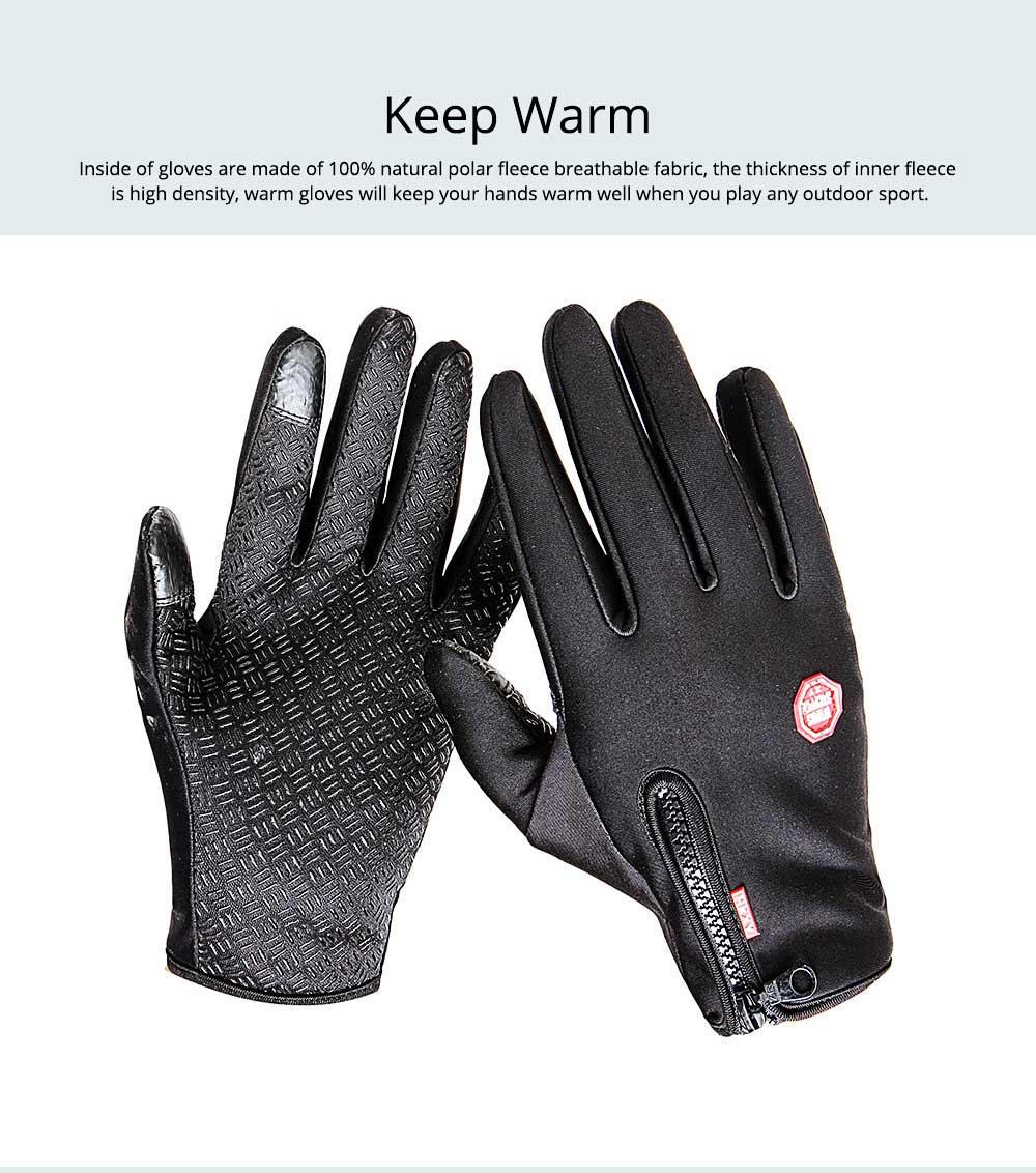 Winter Gloves PU Warm Waterproof Anti-skid Touchscreen Zipper Gloves for Running Hiking Climbing Skiing for Men Women 2