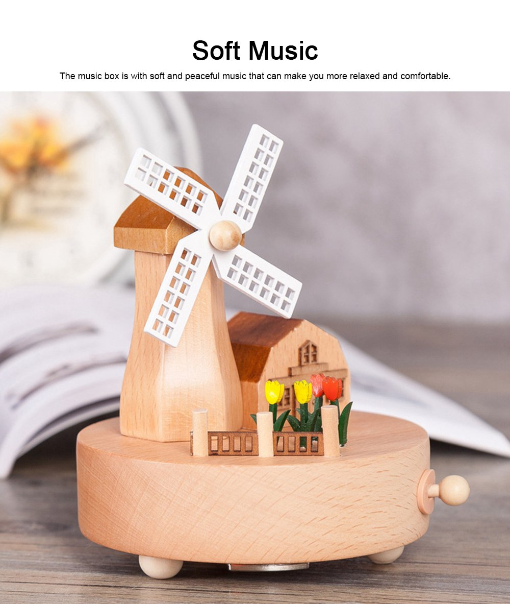 Rotation Wooden Music Box, Romantic Windmill Wood Craft Artware Handmade Decoration Gifts & Presents for Children Kids Friends 1