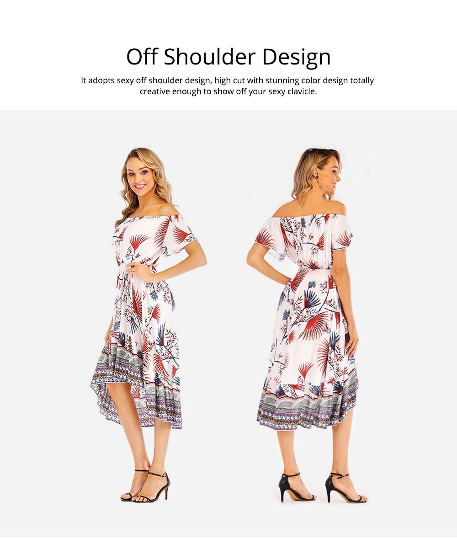 Holiday & Beach Dress for Women, Bohemian Print Dress, Sexy Off Shoulder Long Dress for Women 2