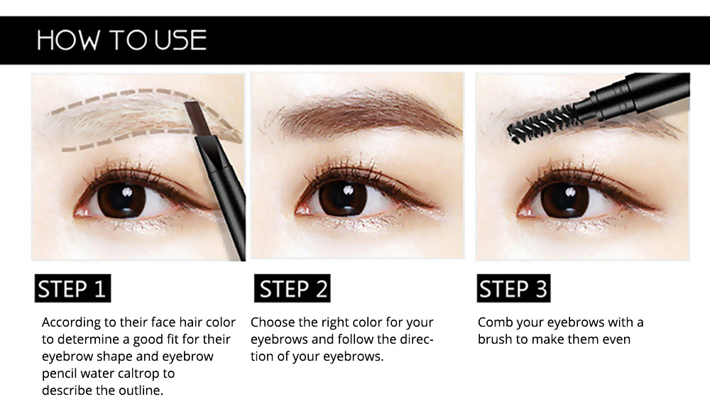 Double-Head Rotated Eyebrow Pencil, Waterproof Eyebrow Pencil, Eyebrow Pencil with a Brush NOVO 5 Colors Available 2