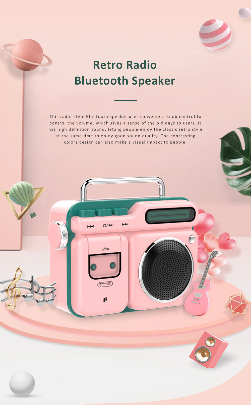 Mini Retro Radio Bluetooth Speaker Portable Vintage Radio High Definition Audio BT 4.2 Bluetooth Speakers 0