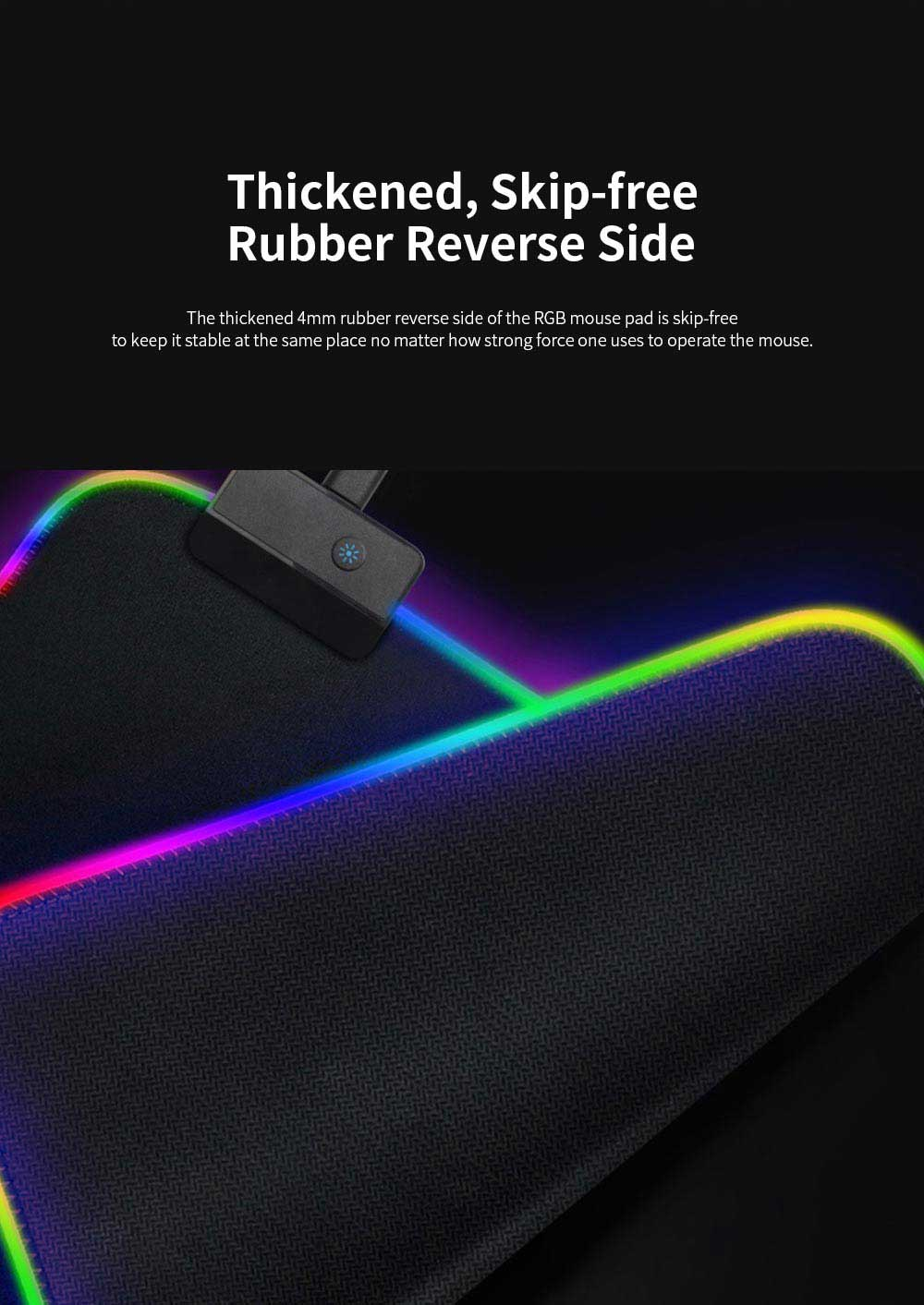 RGB Mouse Pad with Light Stripe Fine Textured and Thickened Skip-free Rubber Reverse Side Mouse Mat Computer Accessory Mousepad 2