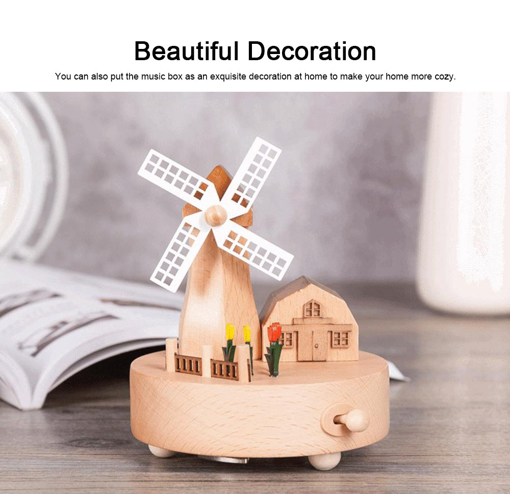 Rotation Wooden Music Box, Romantic Windmill Wood Craft Artware Handmade Decoration Gifts & Presents for Children Kids Friends 4