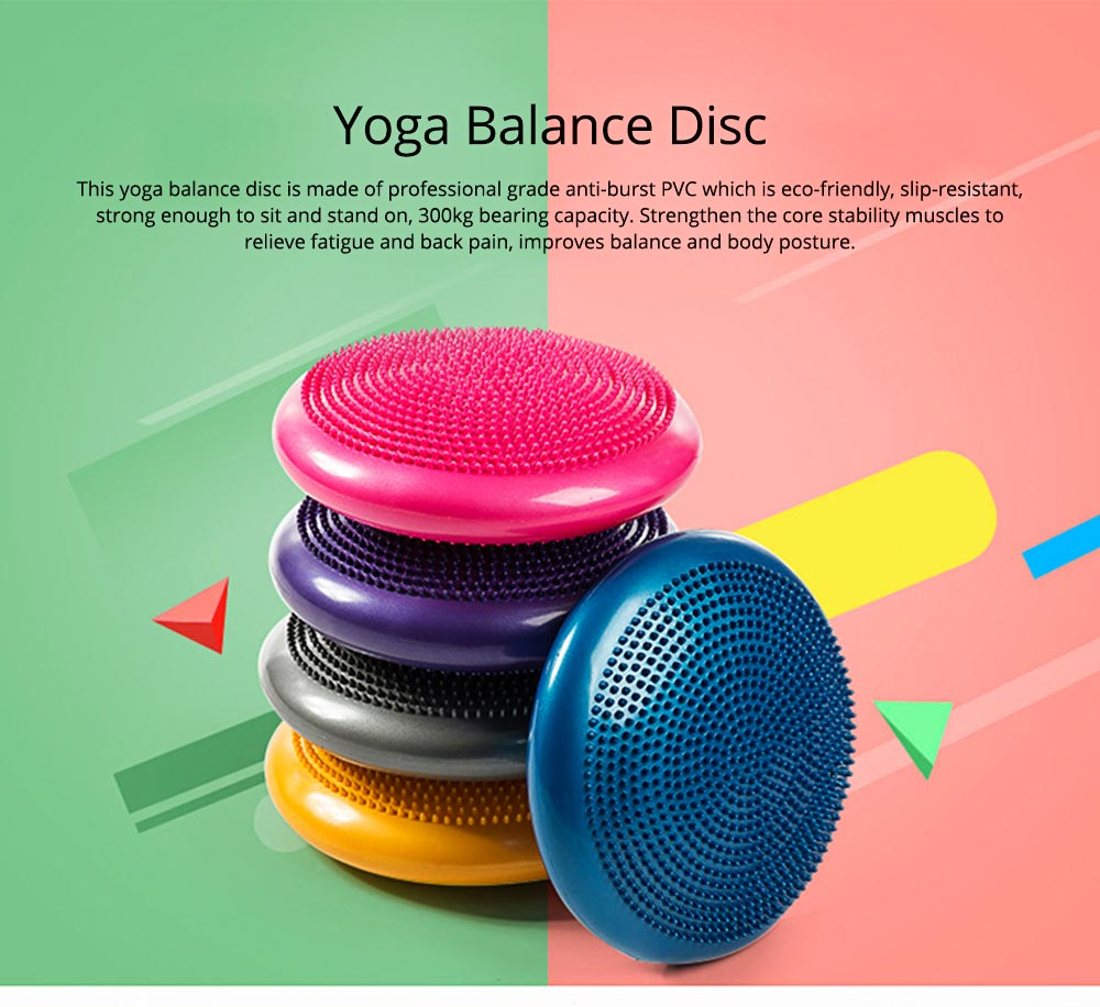 Yoga Balance Disc Extra Thick Inflatable Exercise Fitness Stability Wobble Cushion with Inflator for Training Physical Therapy 0