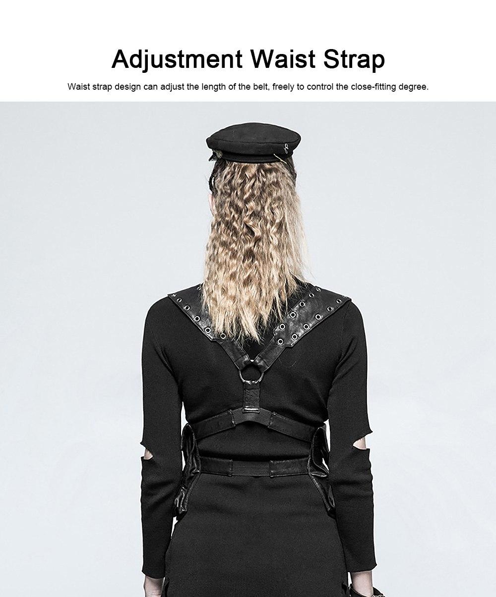 Square Shape Waist Strap Adjustable Belt Backpack, Locomotive Style Bag for Women, PU Leather Waistcoat Halloween Gift 4