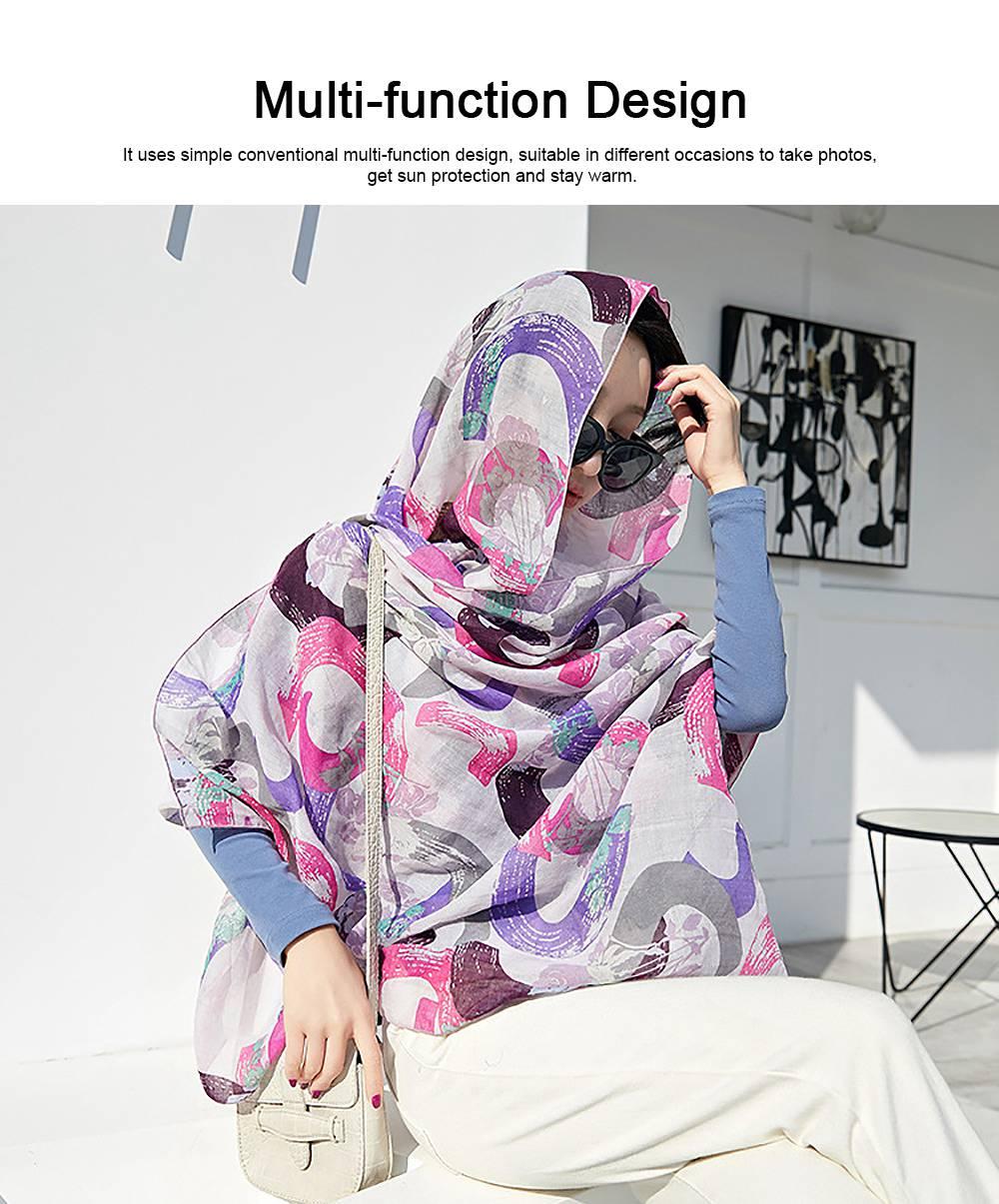 Korean Cotton Scarf for Women, Graffiti Pattern Larger Size Shawl, Multi-function Wide Range Printing Scarf 4
