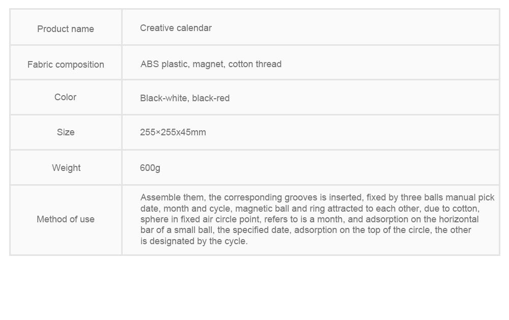 Creative Calendar Artistic Duty-cycle Operation Magnetic ABS Plastic, Magnet Cotton Thread Desk Calendar Birthday Gift or Souvenir 7