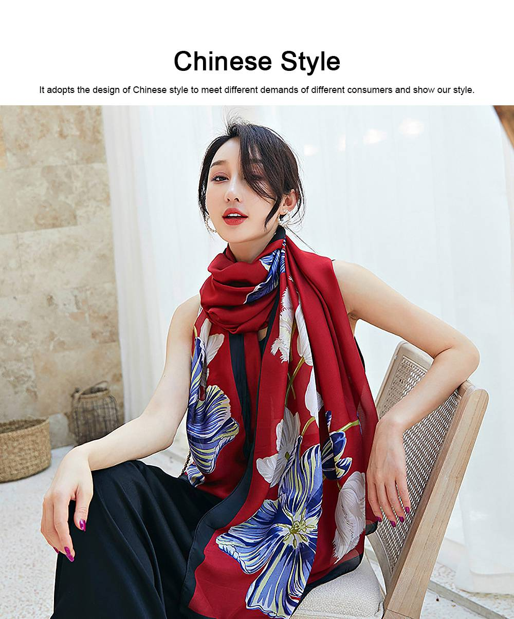Imitation Silk Scarf for Women Chinese Style Square Shape Suitable for Many Occasions Shawl, Wide Range Scarves 3