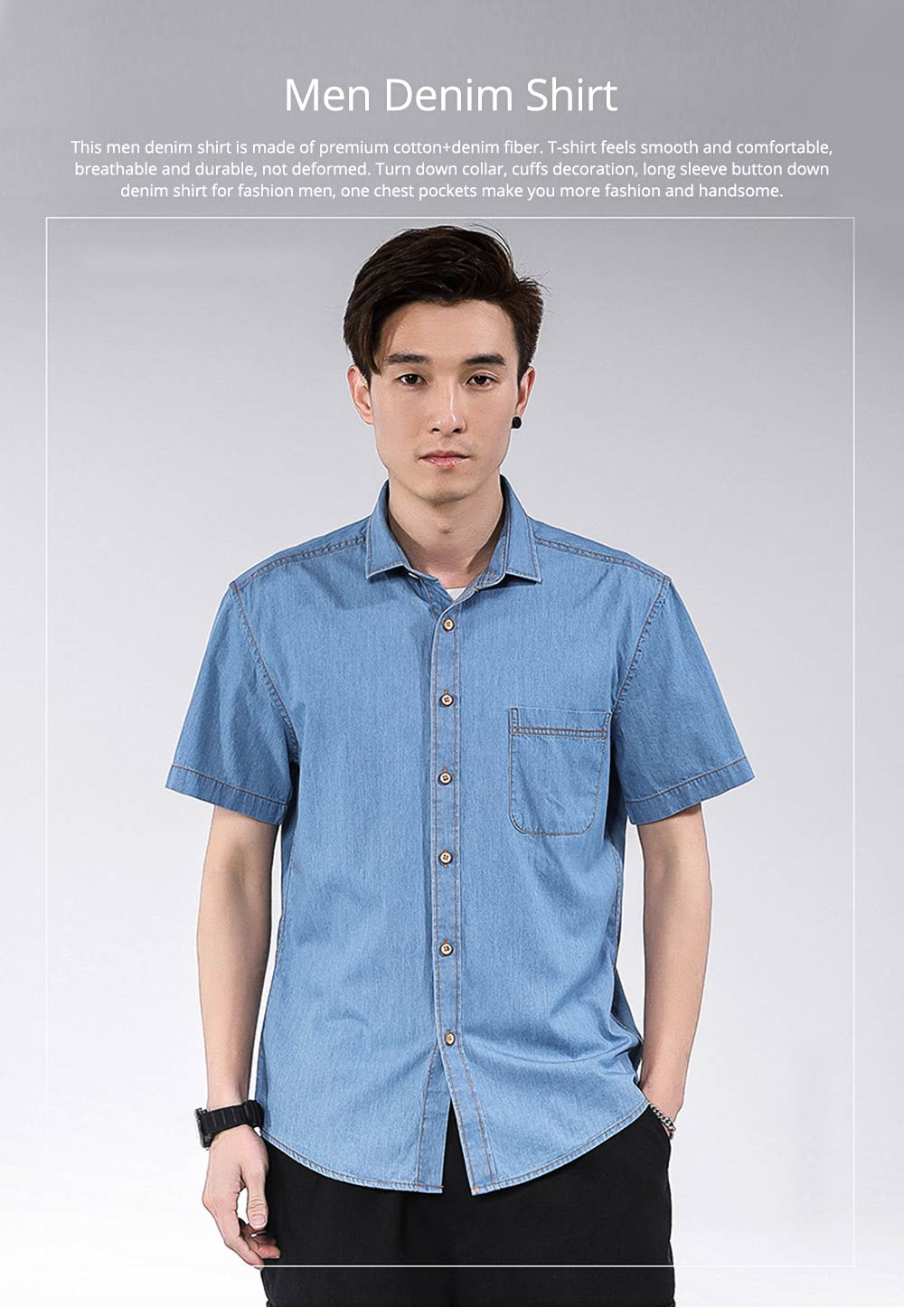 Men's Short Sleeve Shirts Casual Button Down Western Vintage Denim Shirt Cotton Loose Shirts 0