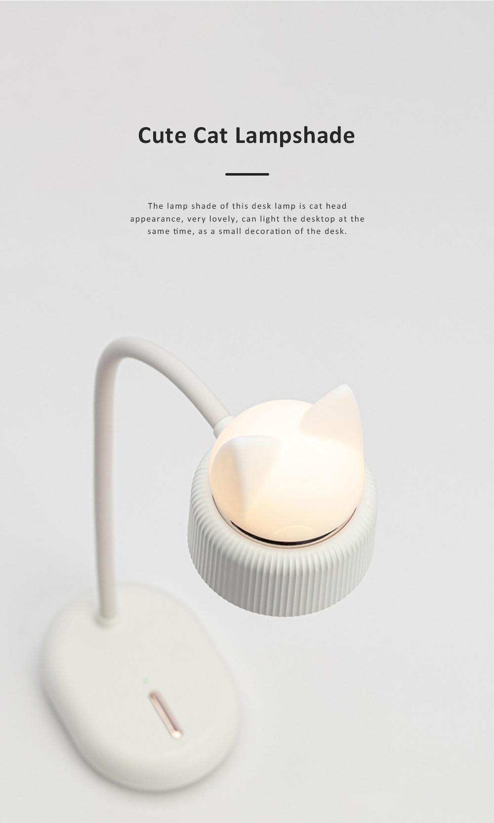 Cute Cat Shape Desktop Lamp USB Charging Bedside Reading Lamp Rechargeable Eye Protected Lamp 3