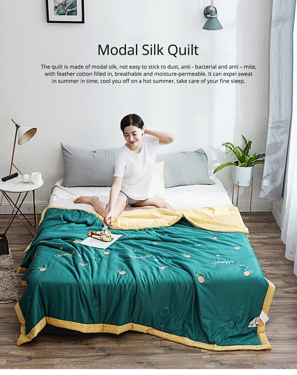 Modal Silk Embroidered Quilt for Summer Pure Air Conditioning Quilt for Two Person 0