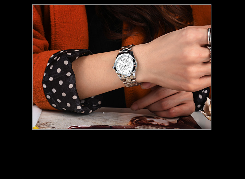 Waterproof 30M Couple Quartz Watch with Steel Band for Men & Women, Quartz Watch for Lovers 4