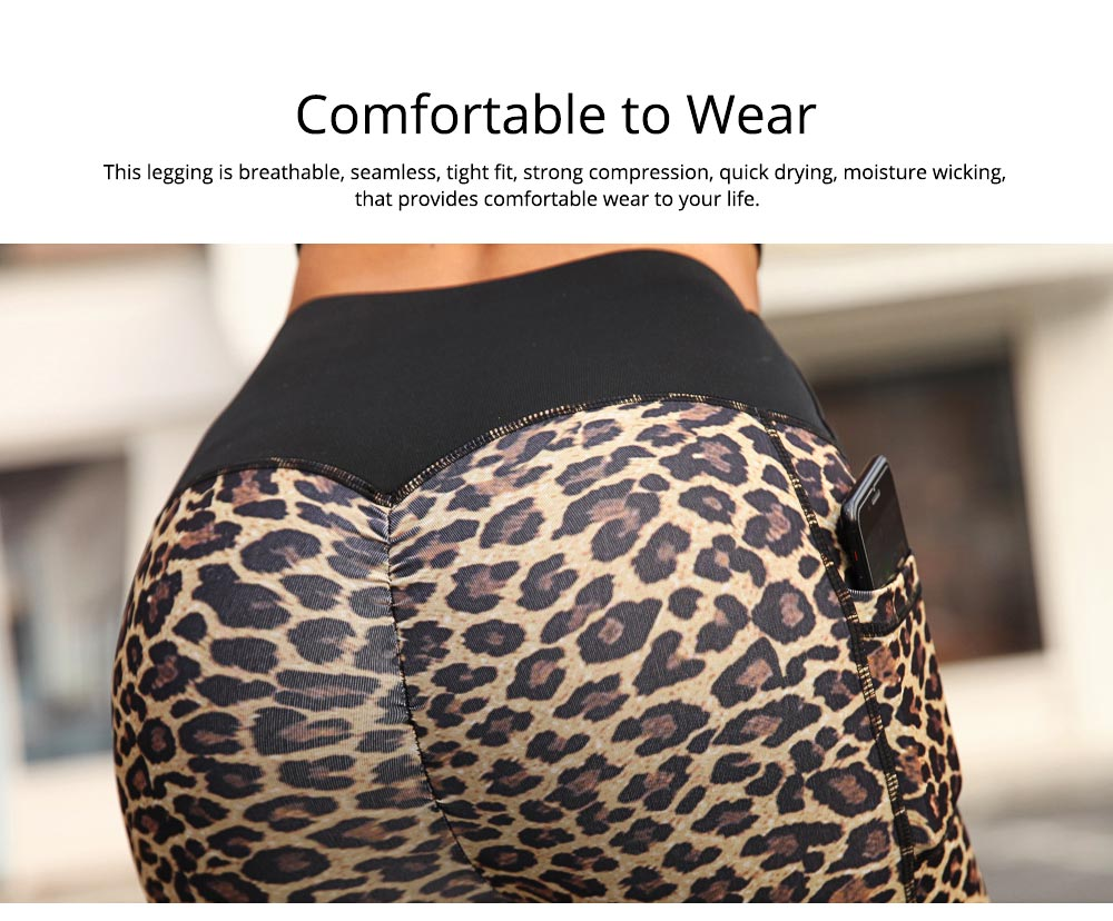 Women's Yoga Pants Tummy Control Butt Lift-up High Waisted Workout Leggings Leopard Print Cropped Pencil Pant 2