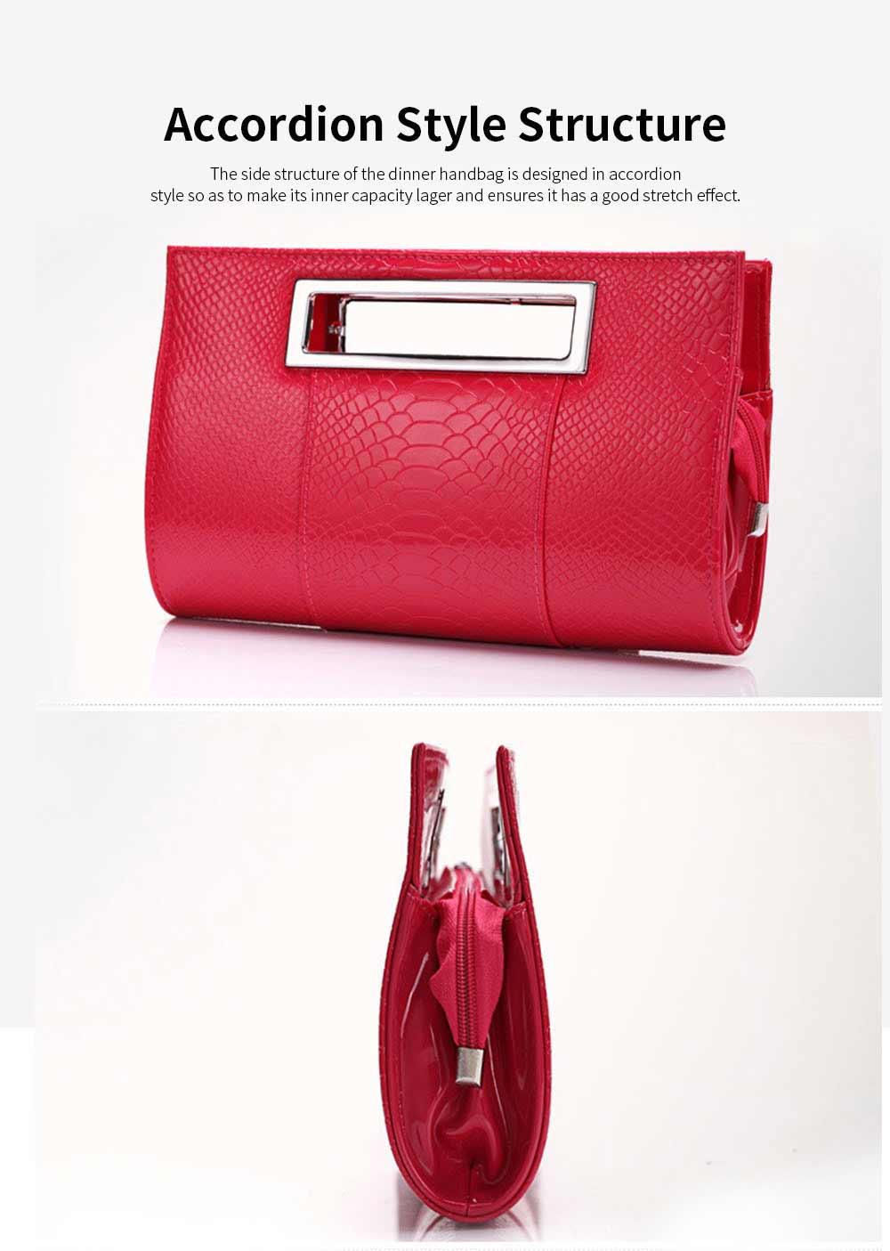 Women Evening Bag Casual PU Leather Dinner Bag with Removable Handle Zipper Pocket Durable Wear Resistant Concealed Pocket Crocodile Pattern Handbag 2