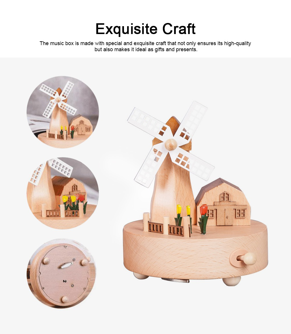 Rotation Wooden Music Box, Romantic Windmill Wood Craft Artware Handmade Decoration Gifts & Presents for Children Kids Friends 5