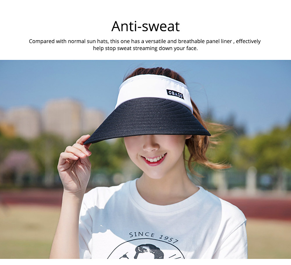 Sun Visor Hats Women Large Brim Summer UV Protection Beach Cap Foldable Driving Hats 5
