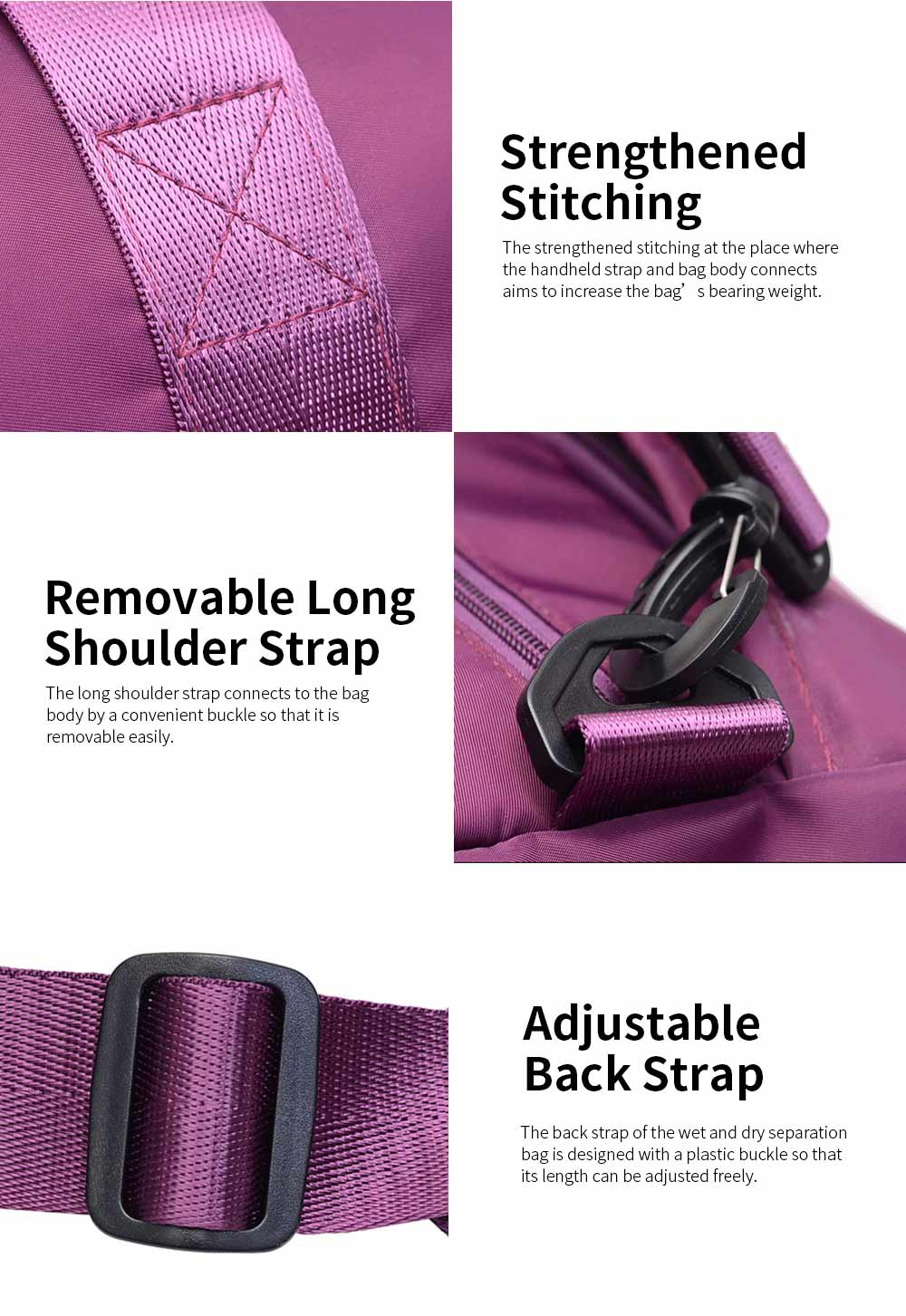 Foldable Wet and Dry Separation Bag for Gym Exercises Yoga Sports Waterproof Nylon-made Sport Pack Large Capacity Breathable Wear Resistant Travelling Bag Gym Bag 3