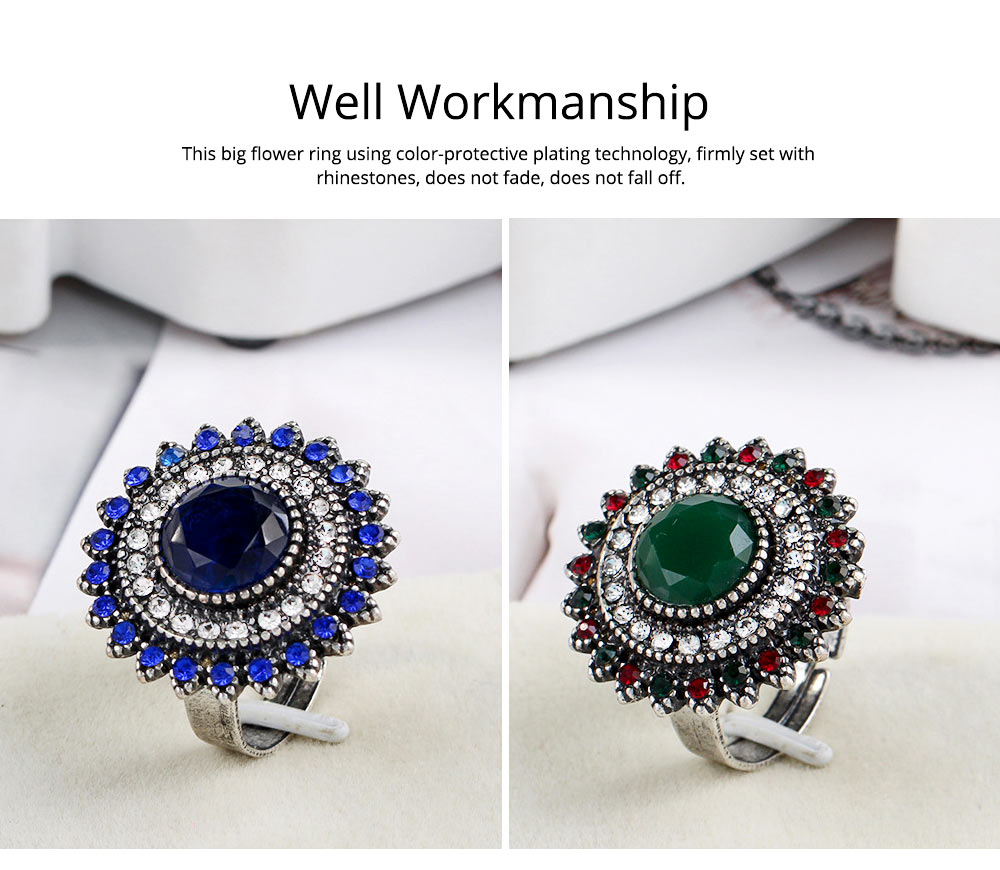Women's Retro Ring Big Sun Flower Adjustable Aluminum Alloy Rhinestone Rings Women Fashion Accessories Best Gifts for Women 2