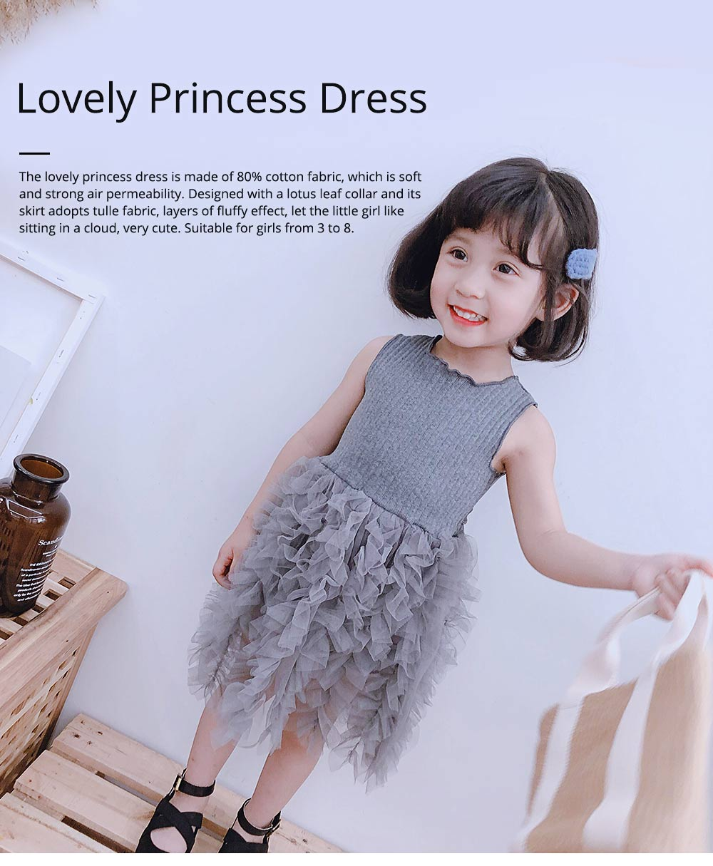Lovely Princess Dress for Little Girls, Leisure Sleeveless Plain Dress for Girls from 3 to 8 0