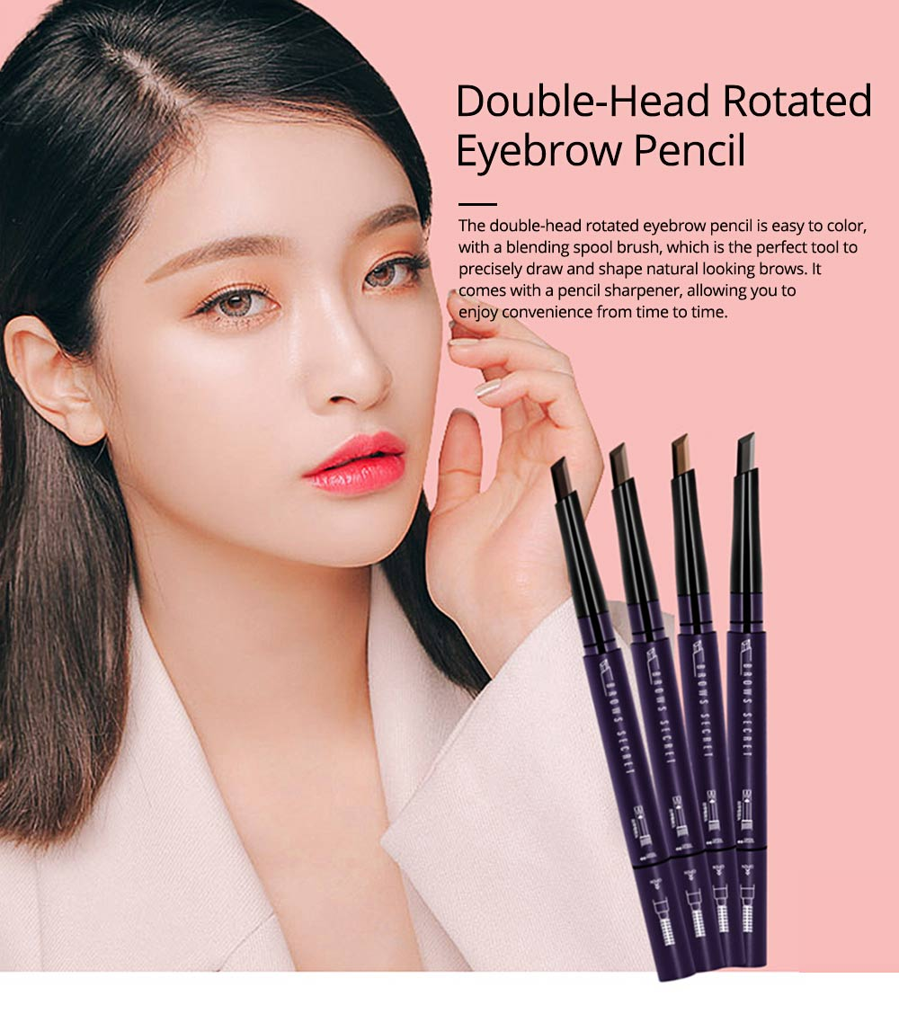 Double-Head Rotated Eyebrow Pencil, Eyebrow Pencil with a Brush 4 Colors Available 0