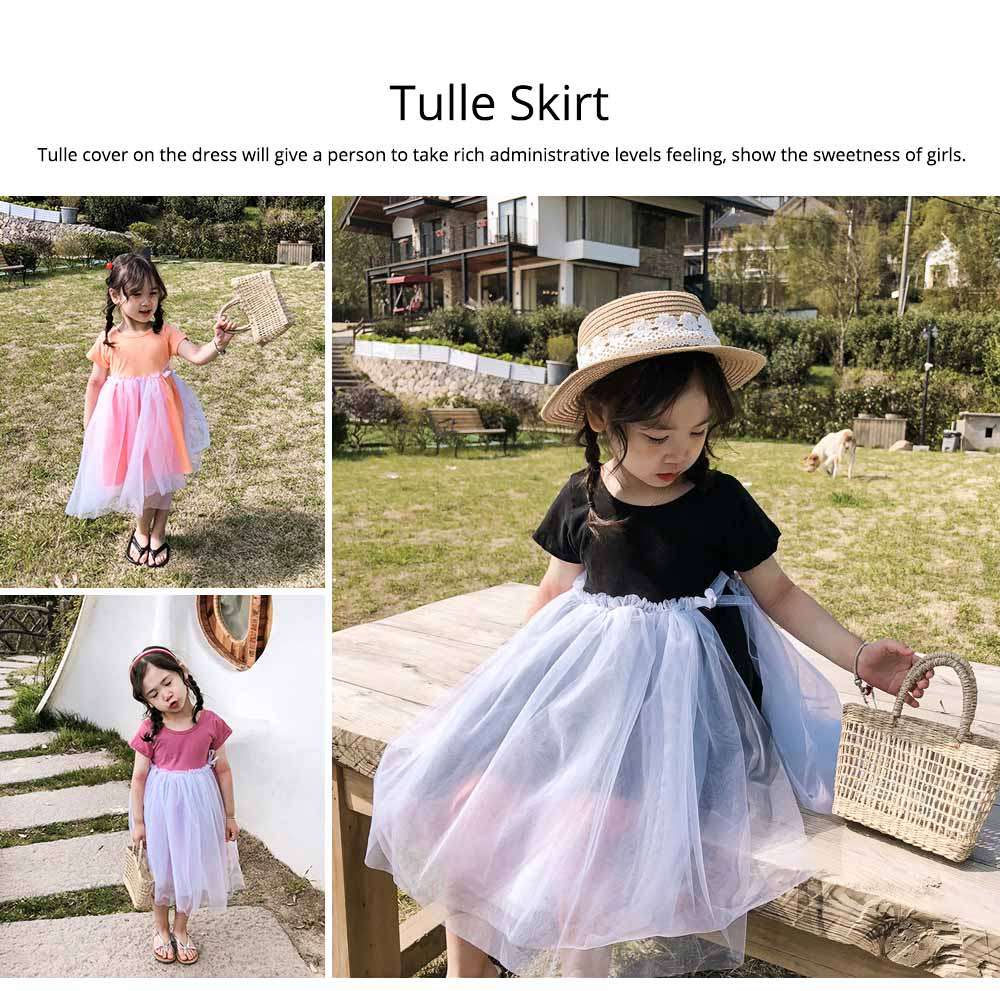 Hollow-back Dress for Girls, Tulle Skirt Patchwork Dress, Short Sleeves Dress for 3- 8 Years Girl 2