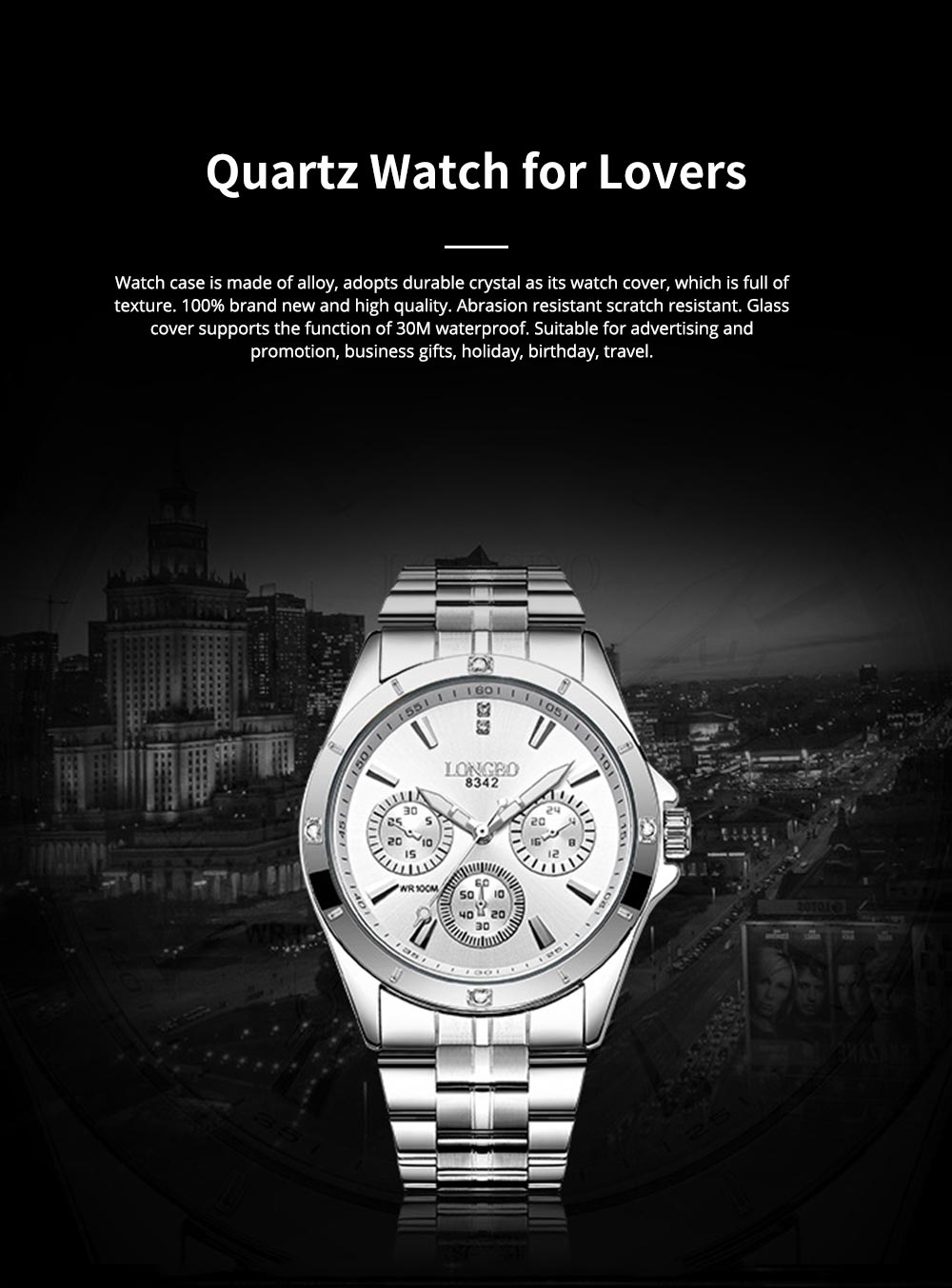 Waterproof 30M Couple Quartz Watch with Steel Band for Men & Women, Quartz Watch for Lovers 0