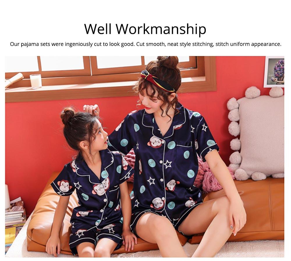 Casual Mother Daughter Pajamas Matching Comfortable Ice Silk Satin Pajama Set with Shirt and Short Pant 1