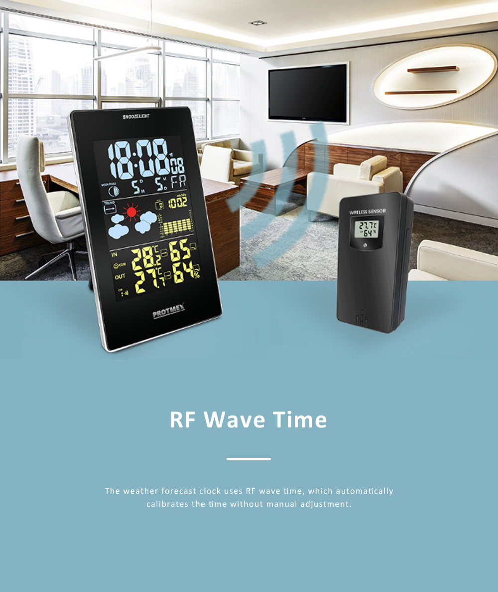 Wireless Color Weather Station Multi-functional Weather Forecast Clock Temperature & Humidity Electronic Alarm Clock 4