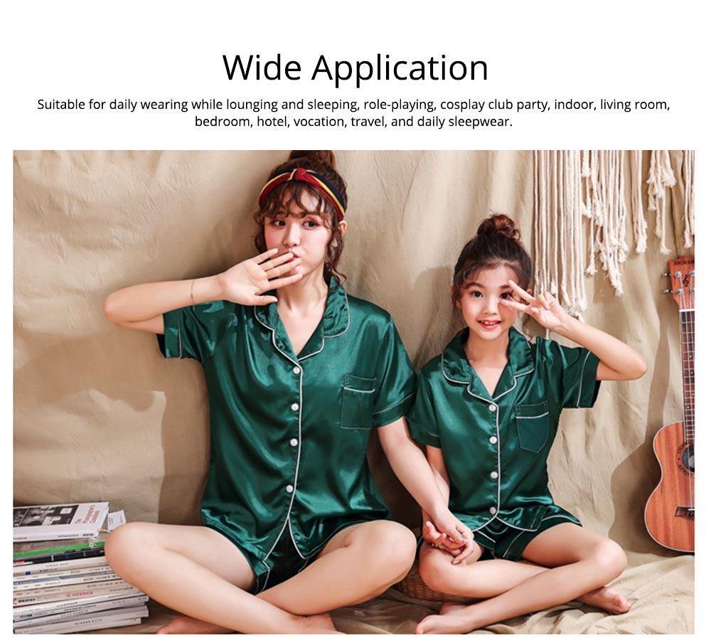 Casual Mother Daughter Pajamas Matching Comfortable Ice Silk Satin Pajama Set with Shirt and Short Pant 6