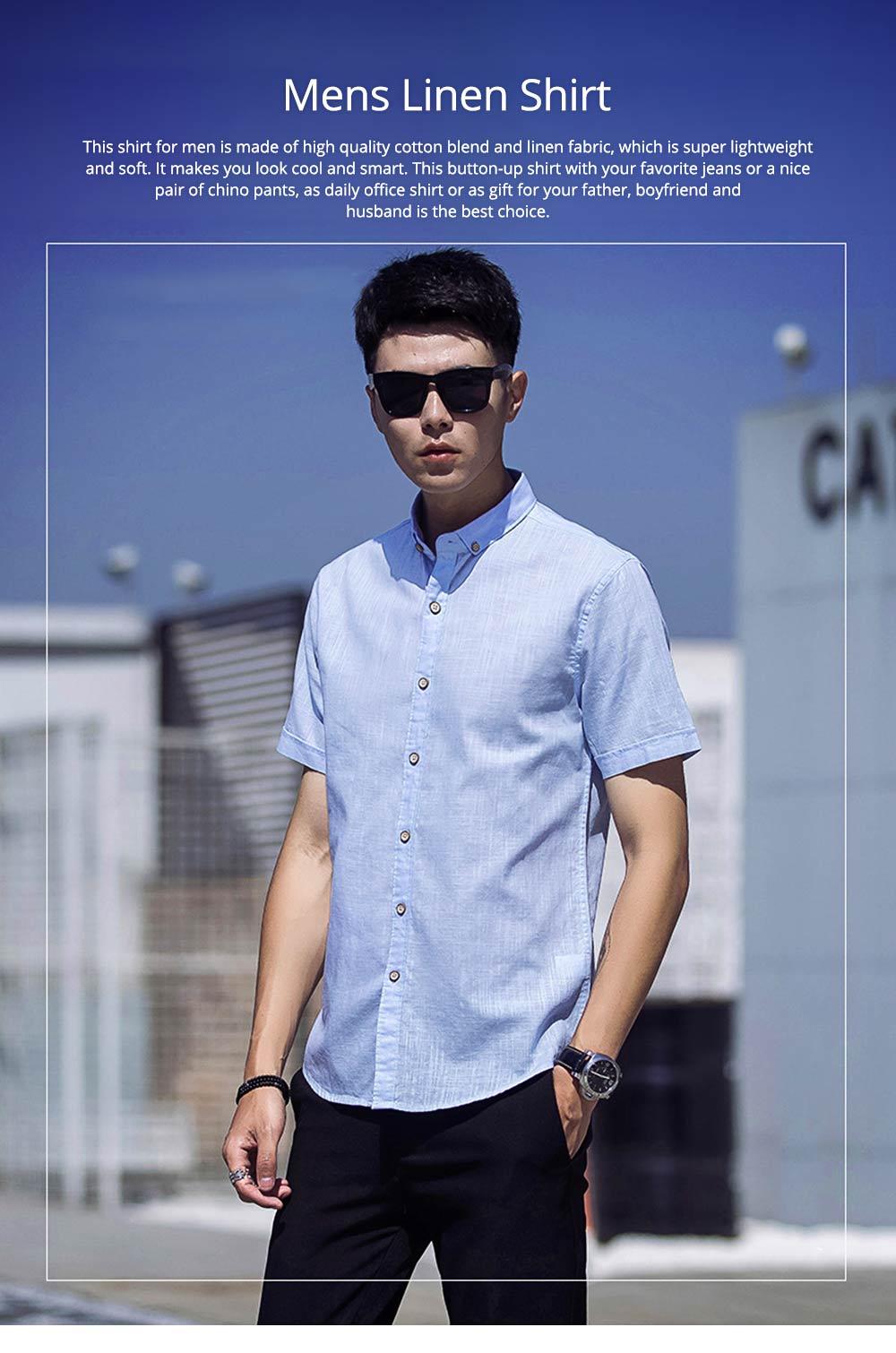 Mens Linen Shirt Short Sleeve Banded Collar Casual Shirts Regular Fit Button Down T-shirts 0
