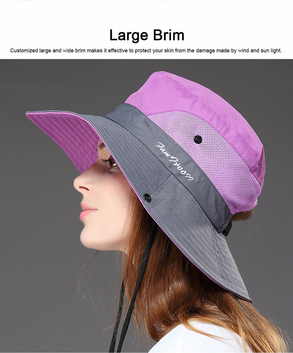 Foldable Bucket Hat for Women, Sunbonnet Sun Hat for Summer, Wind-proof Sun-proof for Outdoor Activities 5
