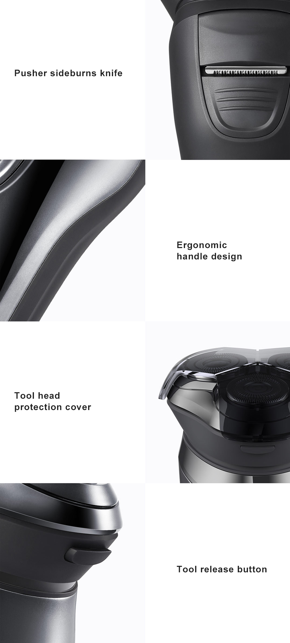 Intelligent Control Shaver Three-blade Reciprocating Electric Razor 3D Floating Razor Rechargeable Electric Shaver 10