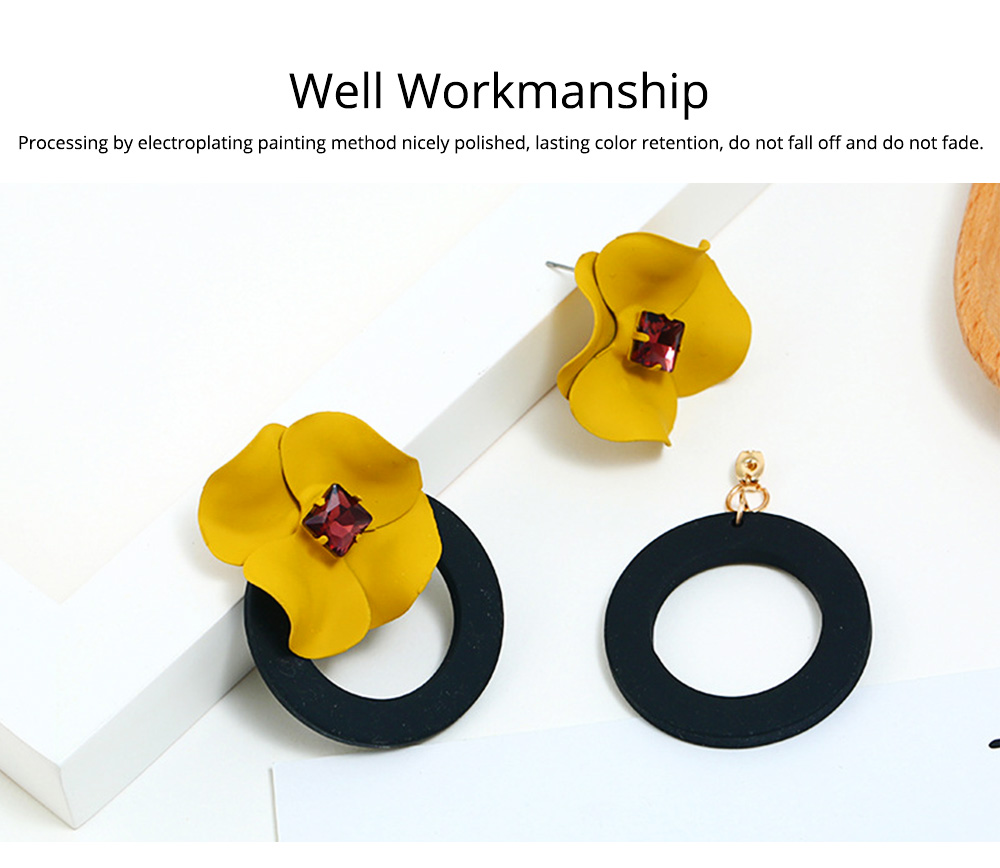Retro Earrings for Women Flower Ear Jacket Zinc Alloy Stud Round Hoop Statement Earrings Gifts for Women 2