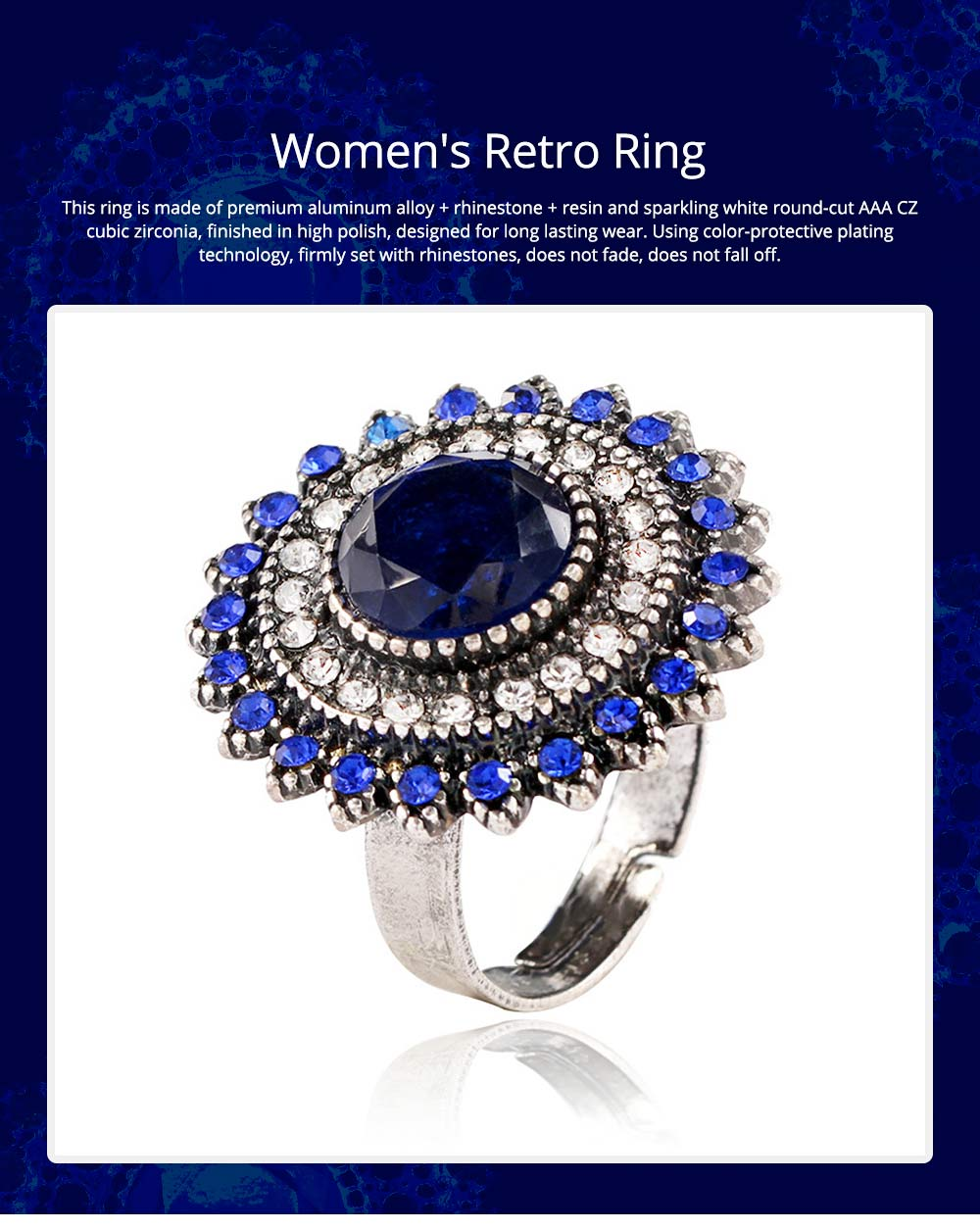 Women's Retro Ring Big Sun Flower Adjustable Aluminum Alloy Rhinestone Rings Women Fashion Accessories Best Gifts for Women 0