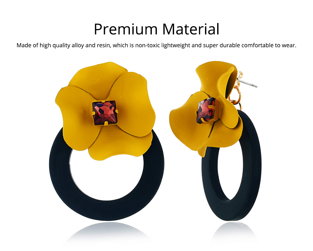 Retro Earrings for Women Flower Ear Jacket Zinc Alloy Stud Round Hoop Statement Earrings Gifts for Women 3