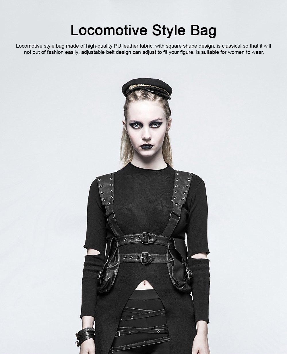 Square Shape Waist Strap Adjustable Belt Backpack, Locomotive Style Bag for Women, PU Leather Waistcoat Halloween Gift 0