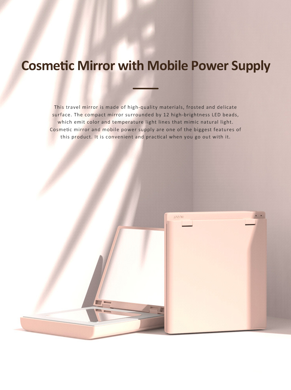 Cosmetic Mirror with Mobile Power Supply Portable Makeup Vanity Mirror Hand-held Mirror for Travel 0