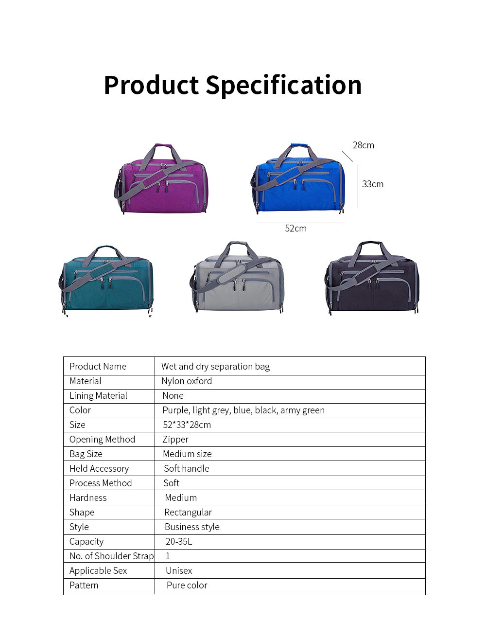Nylon Oxford Wet and Dry Separation Bag with Two-way Zipper Major Pocket Durable Waterproof Separate Shoe Pocket Unisex Travelling Bag Large Capacity Valise Storage Bag 7