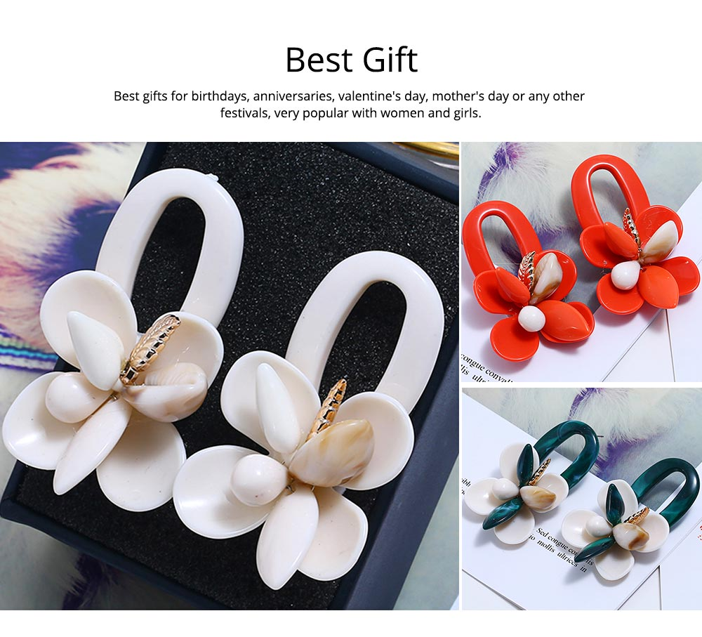 Retro Exaggerated Earrings Shell Coral Multilayer Earrings Acrylic Hoop Pendants Gifts for Women 5