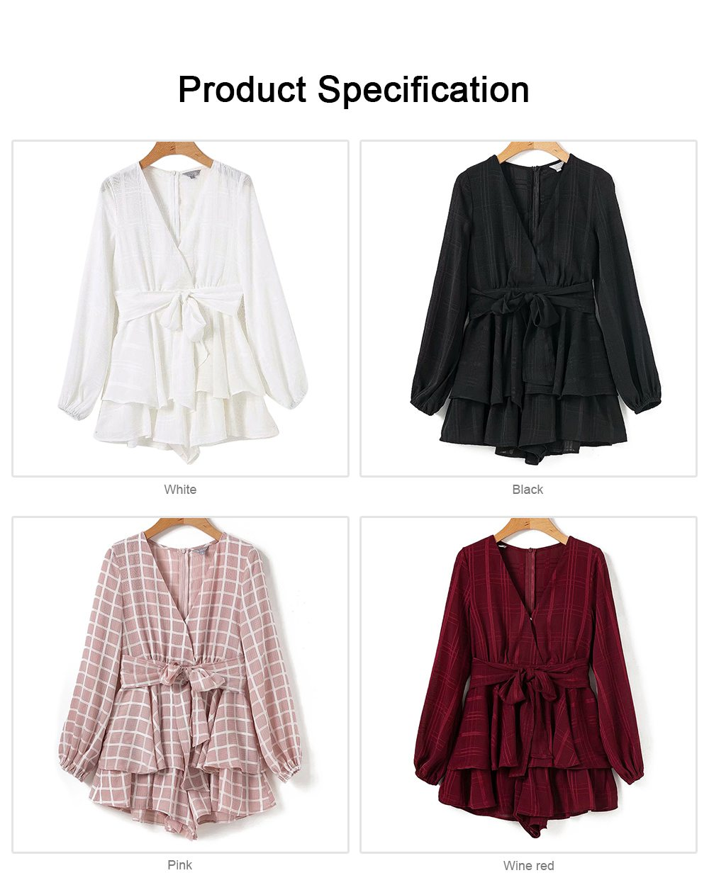 Women's Long Sleeve Plaid Jumpsuit Recreational Shorts for Lady, Cardigan V Collar Zipper Bowknot on the Back Long-sleeve Siamese Trousers 6