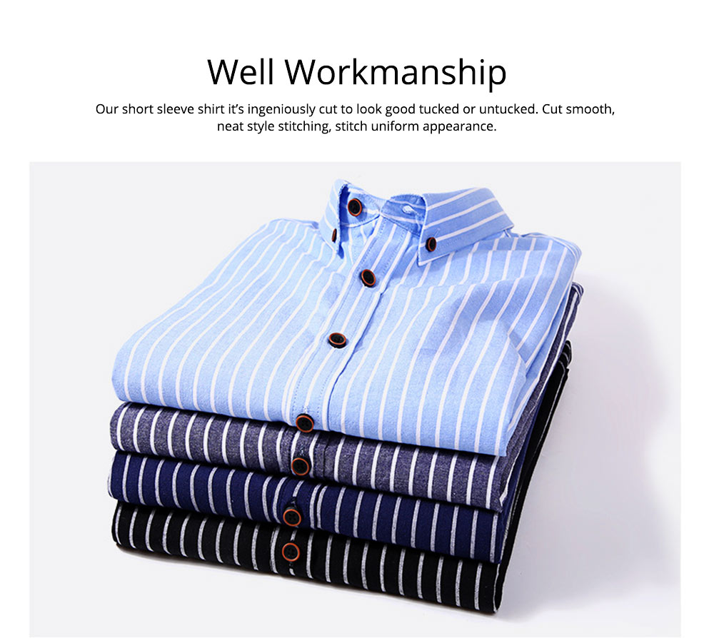 Short-Sleeve Stripe Shirt Men Casual Button Down Cotton Loose Shirts Quick-drying T-shirts Gifts for Men 6