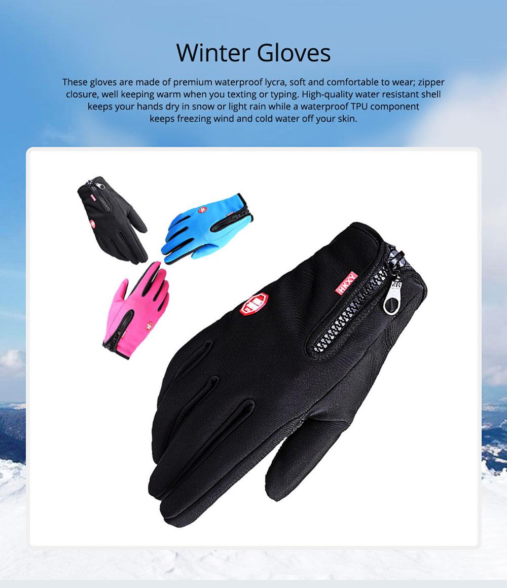 Winter Gloves PU Warm Waterproof Anti-skid Touchscreen Zipper Gloves for Running Hiking Climbing Skiing for Men Women 0