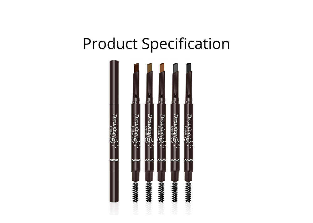 Double-Head Rotated Eyebrow Pencil, Waterproof Eyebrow Pencil, Eyebrow Pencil with a Brush NOVO 5 Colors Available 8