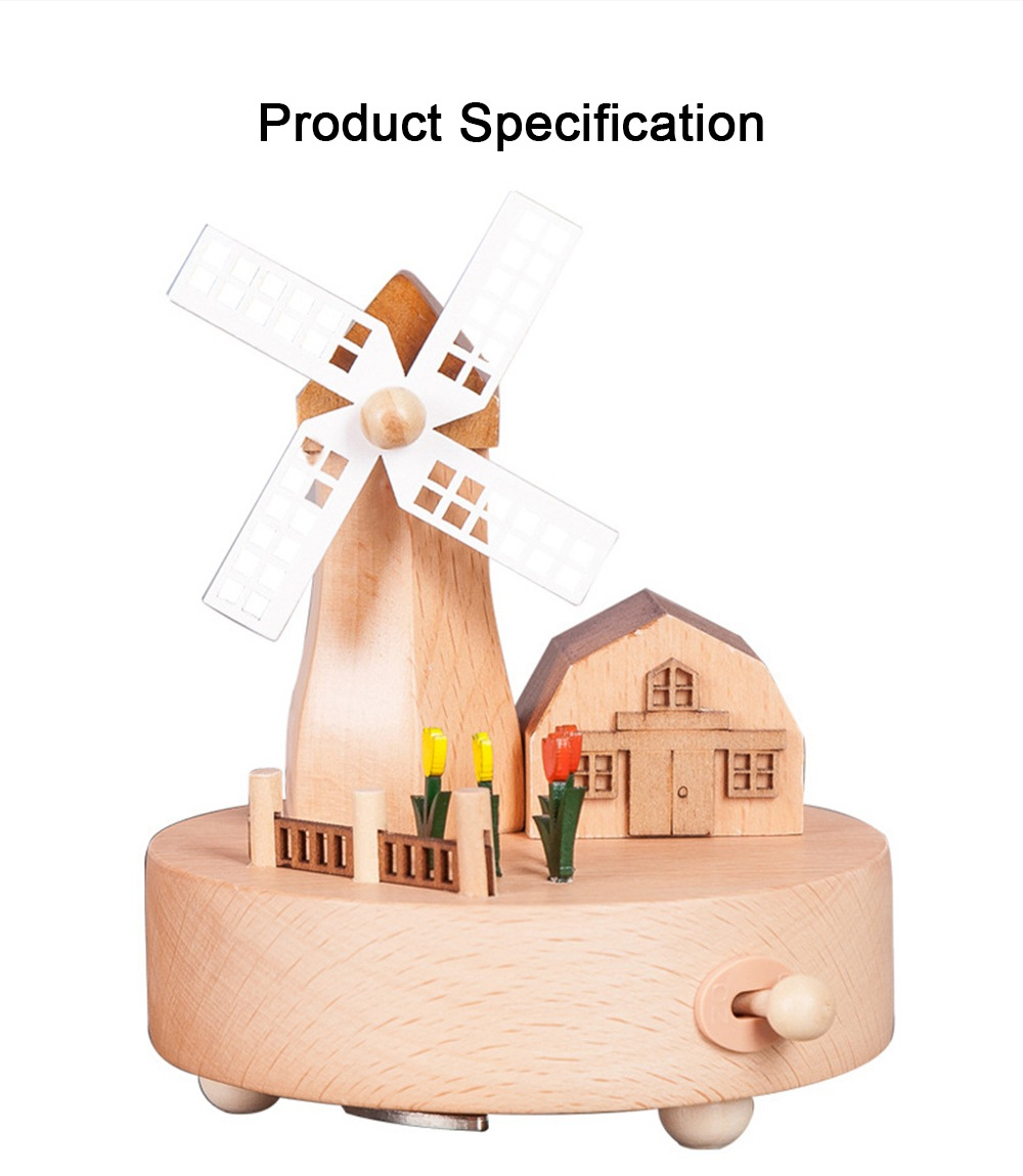 Rotation Wooden Music Box, Romantic Windmill Wood Craft Artware Handmade Decoration Gifts & Presents for Children Kids Friends 6